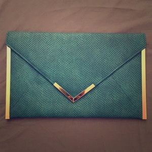 ASOS Teal Pebbled Faux Leather Envelope Clutch